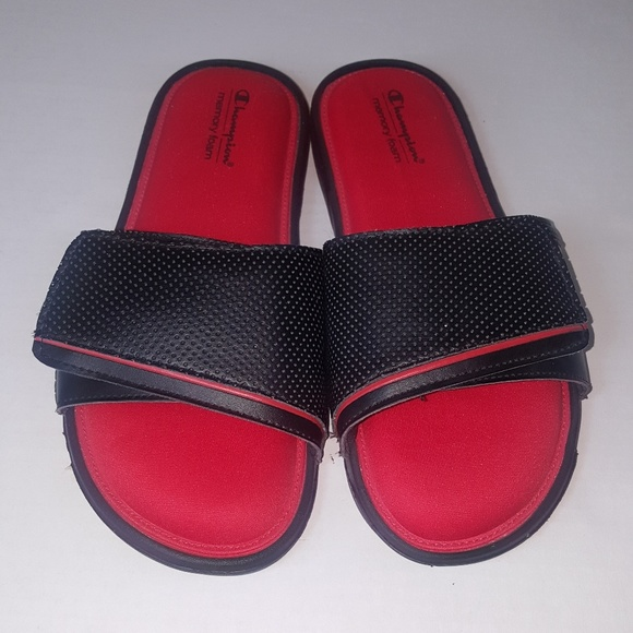 37bb068219e92 Champion red and black slide on sandals. Size 8